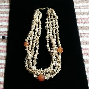 Stone Necklace with Carved Stone Beads
